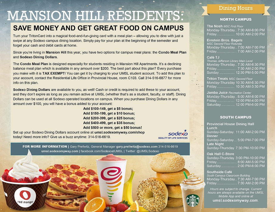 Mansion hill apartment living for Apartment meal plans bu