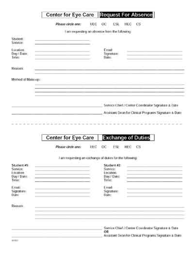 Forms page – Absence Request Form