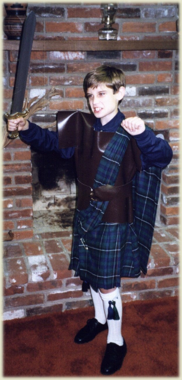 Mike in Scottish Warrior outfit