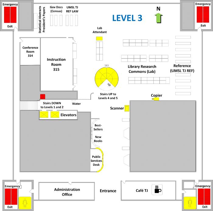 Thomas Jefferson Library Level 3 Floor Plan