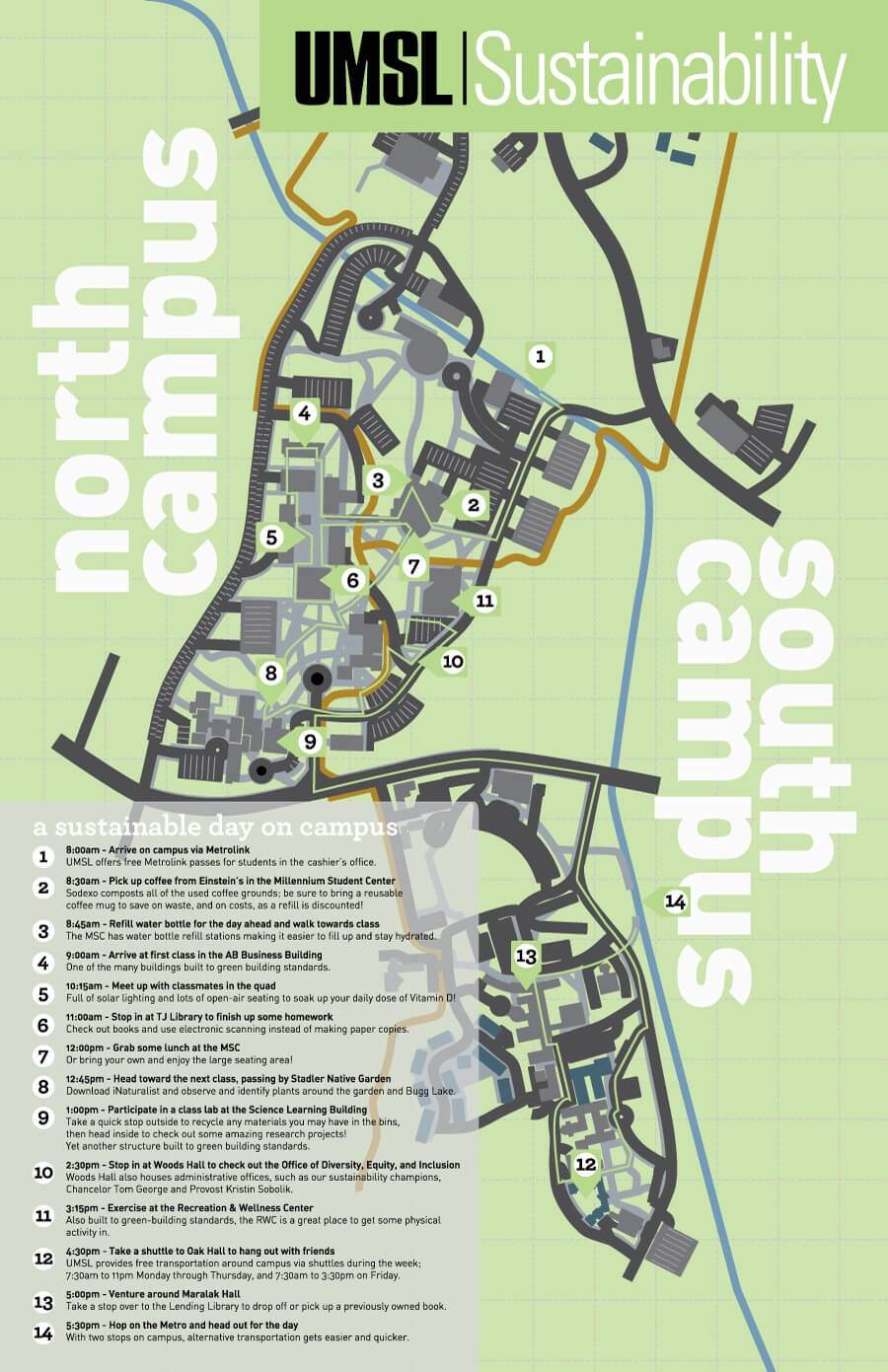 Map Of Sustainability Features On Campus